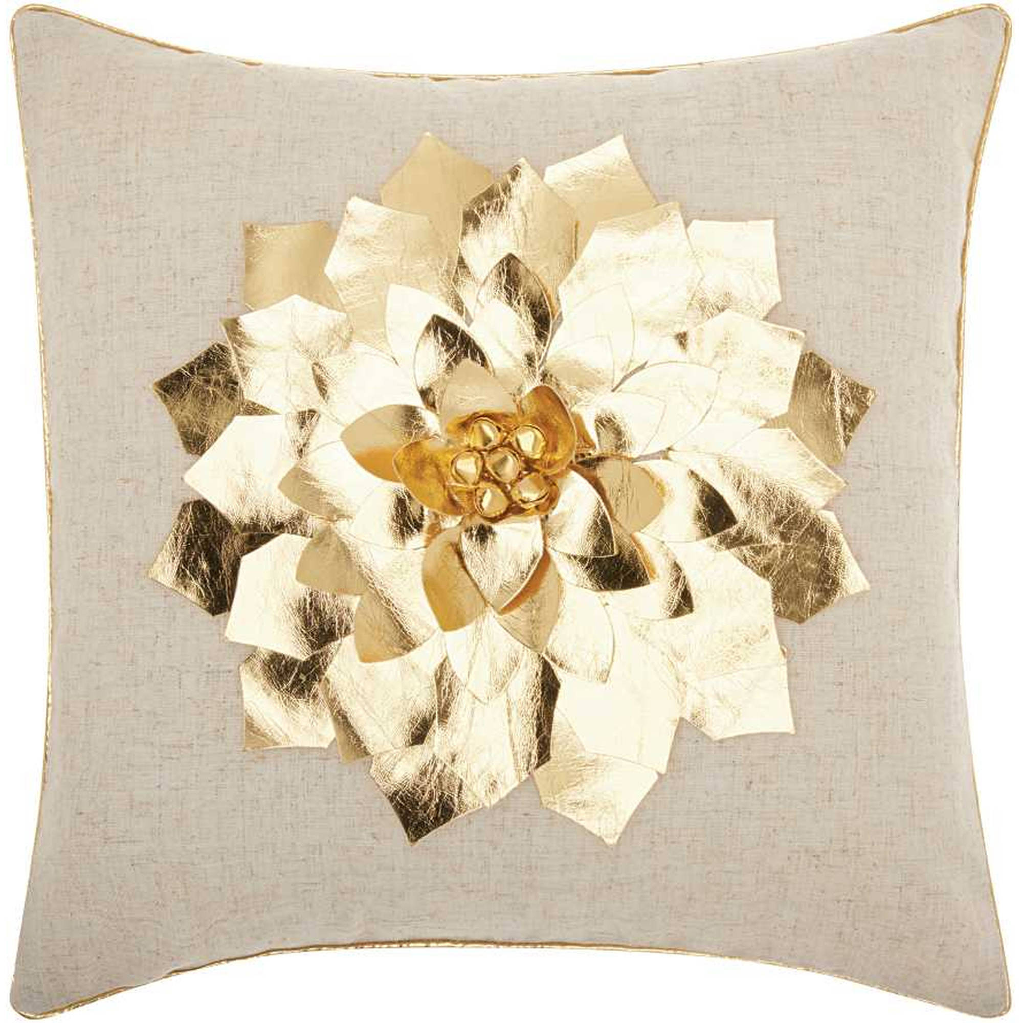 Nourison Home For The Holiday Metallic Poinsettia Throw Pillow, Gold by Nourison