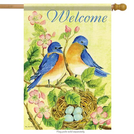 Watercolor Bluebirds Spring House Flag Welcome Floral Decorative Banner 28