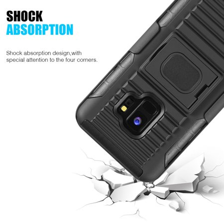 Samsung Galaxy S9 Case, by Insten Mag Defender Shock Absorbing Dual Layer [Shock Absorbing] Hybrid Stand Hard Plastic/Soft Silicone Case Cover Holster For Samsung Galaxy S9, Black - image 4 de 5