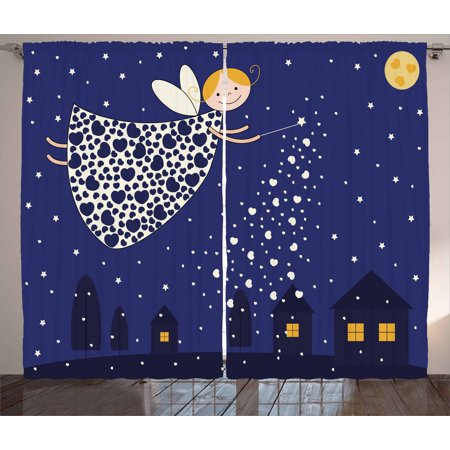 Night Curtains 2 Panels Set, Girls Kids Cartoon Cute Fairy in Sky Casting Magic Over Houses Hearts Stars, Window Drapes for Living Room Bedroom, 108W X 90L Inches, Blue Marigold White, by Ambesonne