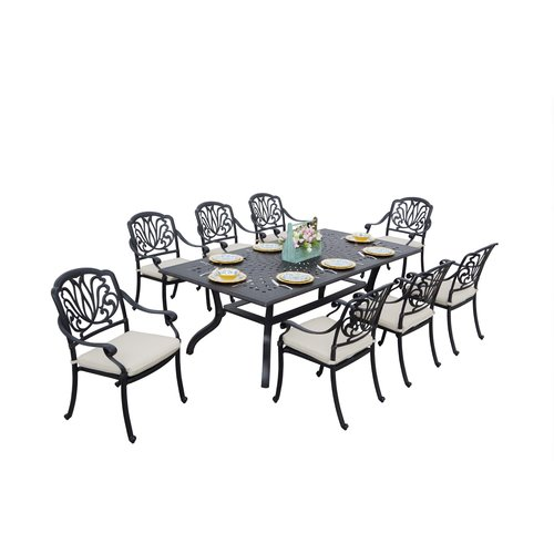 Darby Home Co Laszlo 9 Piece Dining Set with Cushions