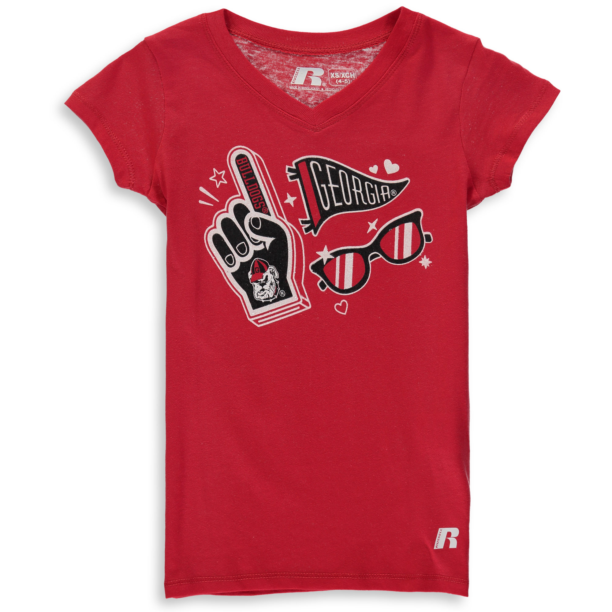 Girls Youth Russell Red Georgia Bulldogs Tunic V-Neck T-Shirt