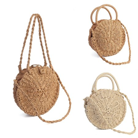 Women Straw Bag Woven Round Handbag Boho Style Girl Crossbody Bags