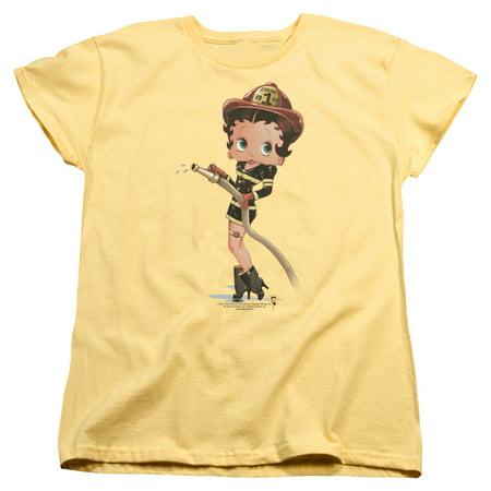 Betty Boop Firefighter Womens Short Sleeve Shirt - Hot Women Firefighters