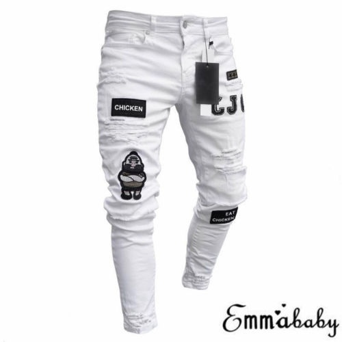 US Fashion Men/'s Ripped Skinny Jeans Destroyed Frayed Slim Fit Denim Pant Zipper