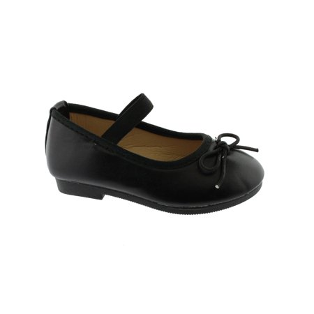Kate Little Girls Black Elastic Strap Bow Mary Jane Shoes
