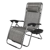 GLiving Zero Gravity Lounge Outdoor Camping Chair Chair Widened Folding Chair Leisure Chair for Patio, Pool w/Cup Holders Gray