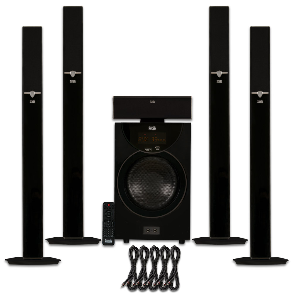 Acoustic Audio AAT2003 Tower 5.1 Home Theater Bluetooth Speaker System and 5 Extension Cables