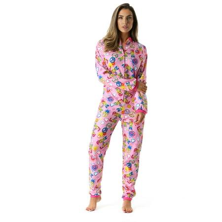 Just Love Printed Flannel Adult Onesie / Pajamas Flannel Footed Pajamas