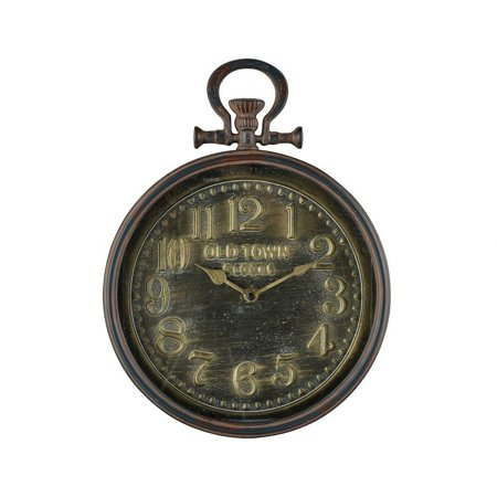 Old Town Clocks with Wall Holder Display With Numerical Numbering Round Wall Clock in Brown