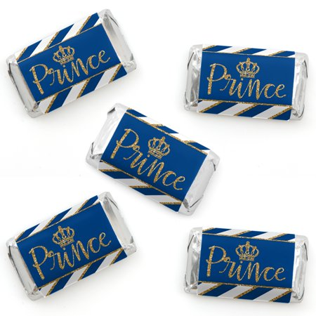 Royal Prince Charming - Mini Candy Bar Wrapper Stickers - Baby Shower or Birthday Party Small Favors - 40 Count