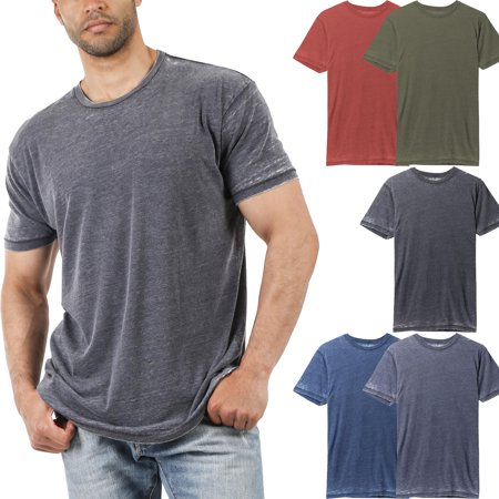 Men's Short Sleeve Soft Faded Vintage Burnout T Shirt Aqua Burnout T-shirt