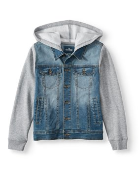 Hollywood Denim Jacket with Knit Sleeves and Hood (Big Boys)