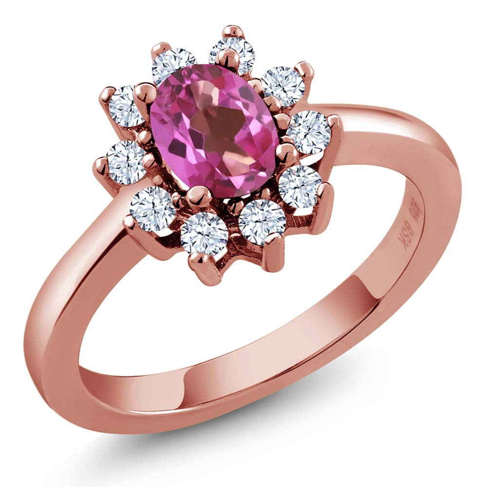 1.35 Ct Oval Pink Mystic Topaz White Topaz Rose Gold Plated Sterling Silver Ring