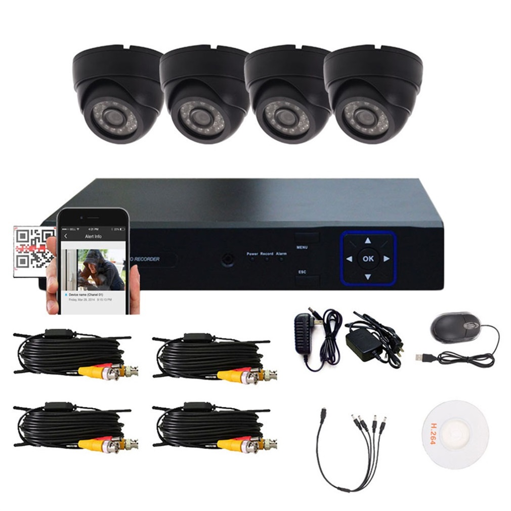 1/4 Recording Camera with Night Vision Surveillance Security Home DVR HD Indoor