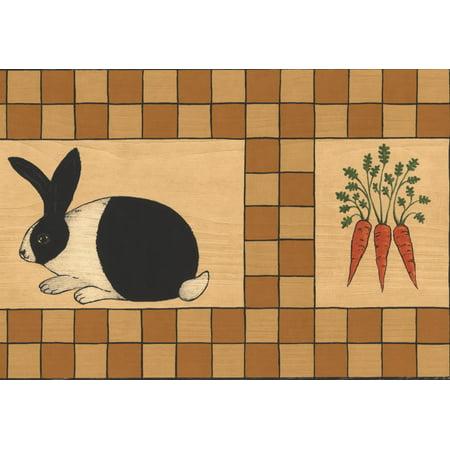 Rabbit Peas Carrots Bathroom Kitchen Kids Brown Beige Wallpaper Border