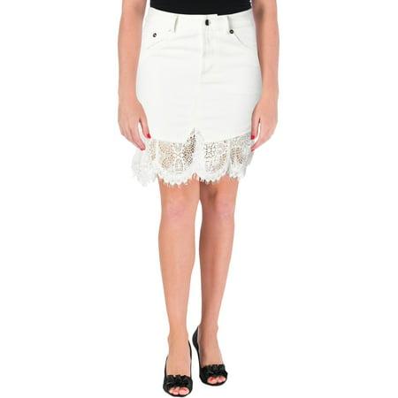 Trim Jean Skirt - Alexander McQueen Womens Denim Lace Trim Mini Skirt Ivory 34