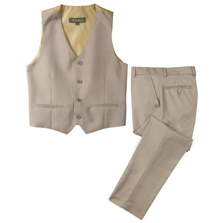 Spring Notion Big Boys' Two Button Suit, Tan-B - Boys Suit