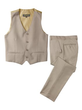 Spring Notion Big Boys' Two Button Suit, Tan-B