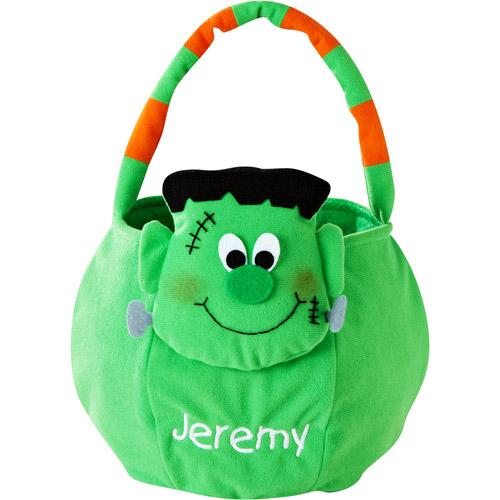 Personalized Plush Halloween Trick or Treat Bag, Frankenstein
