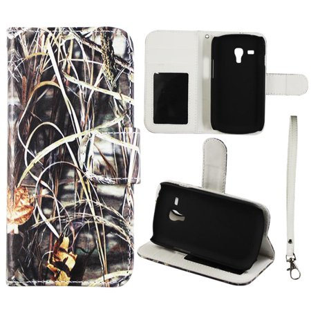 Camo Grass Wallet Folio Case for Samsung Galaxy S3 Mini Fashion Flip PU Leather Cover Card Slots &