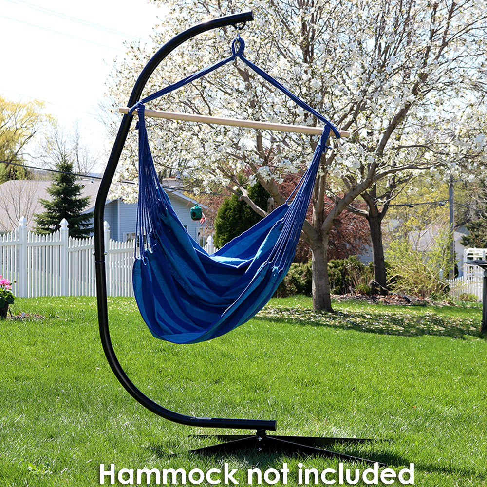 Sunnydaze Durable Steel C-Stand for Hanging Hammock Chairs and Swings, 300 Pound Capacity