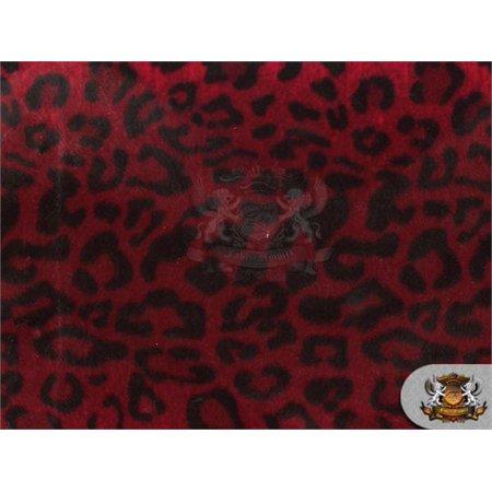 Velboa Faux Fur Fabric LEOPARD RED BLACK / 60