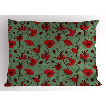 Poppy Pillow Sham Floral Arrangement with Abstract Ballerina Dance Themed Botanical Print, Decorative Standard Size Printed Pillowcase, 26 X 20 Inches, Green Chesnut Brown Red, by Ambesonne