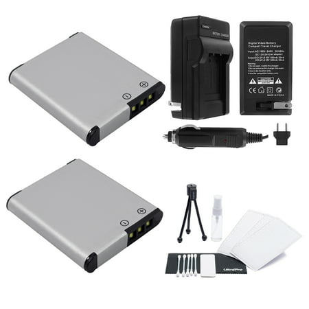 D-LI92 Battery 2-Pack Bundle with Rapid Travel Charger and UltraPro Accessory Kit for Select Pentax Cameras Including Optio I-10, WG-1, WG-2, WG-3, and WG-10