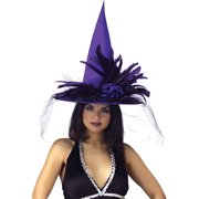 Halloween Purple Satin Witch Hat with Feathers