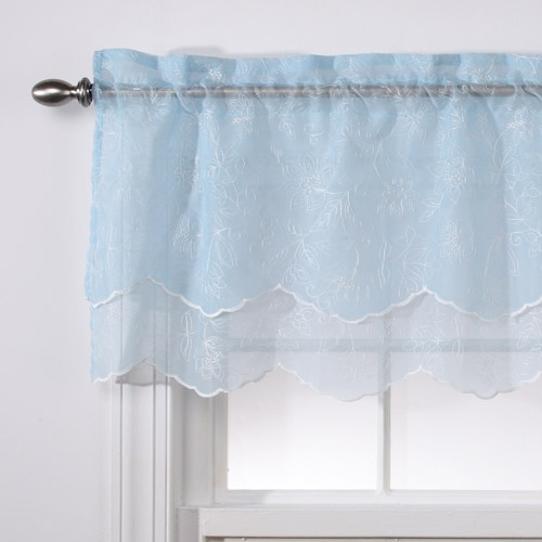 """Reese Embroidered Sheer Layered Valance, 55"""" x 17"""""""