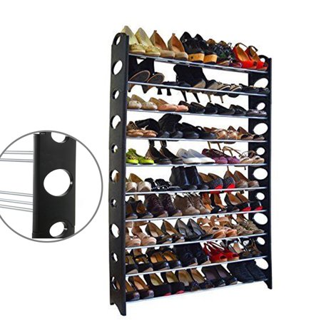 Zimtown 50 Pair 10 Tier Shoe Tower Rack Organizer Space Saving Shoe Rack 10 Space Combo Rack Case