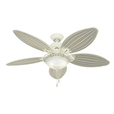 Hunter 54 caribbean breeze textured white ceiling fan with light