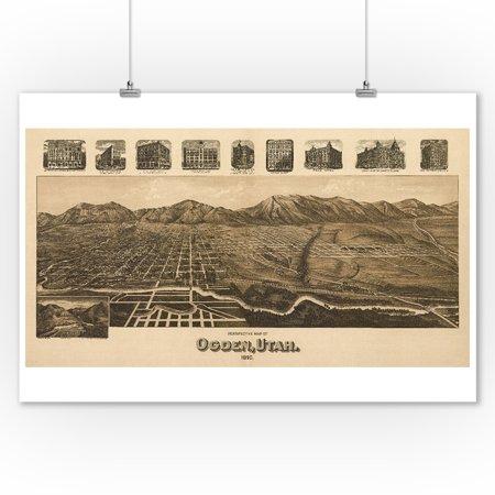 Ogden Utah Panoramic Map 9x12 Art Print Wall Decor