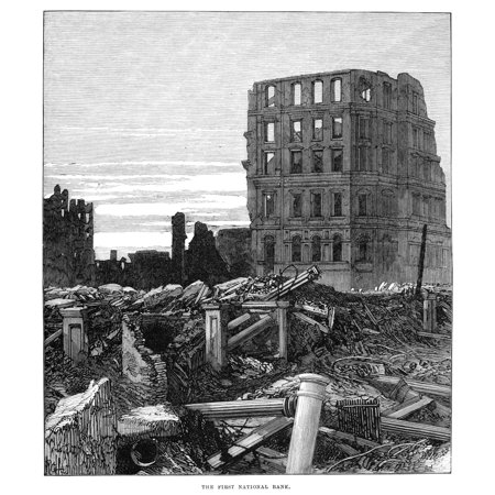 Chicago Fire 1871 Nruins Of The First National Bank After The Great Fire In Chicago 8 10 October 1871 Contemporary English Engraving Rolled Canvas Art     24 X 36