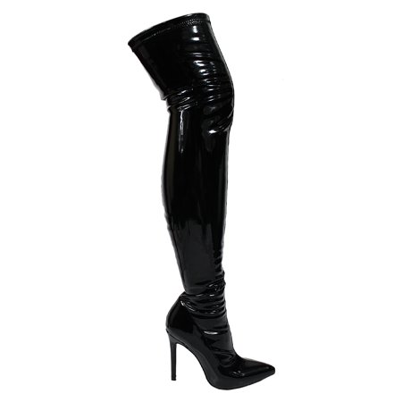 Ll Gisele 7 Lyte 2 Thigh High Stretchy Suede Material Pointy Toe Stiletto Heel Boots Black