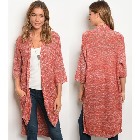 JED FASHION Women's Marled Cotton & Acrylic Sweater Cardigan ()