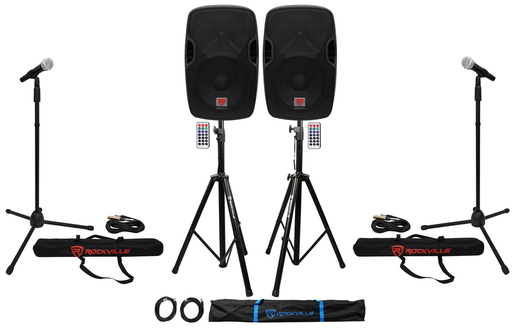 "(2) Rockville BPA12 12"" Pro Active 600w DJ PA Speaker w Bluetooth+Stands+Mics by ROCKVILLE"