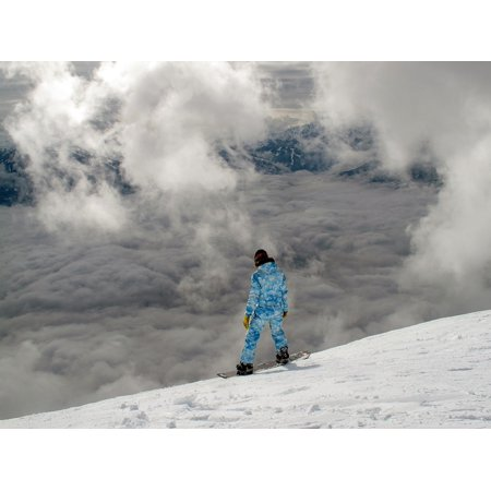 Canvas Print Mountain Snowboarding Snowboard Aerial View Clouds Stretched Canvas 10 x 14 ()