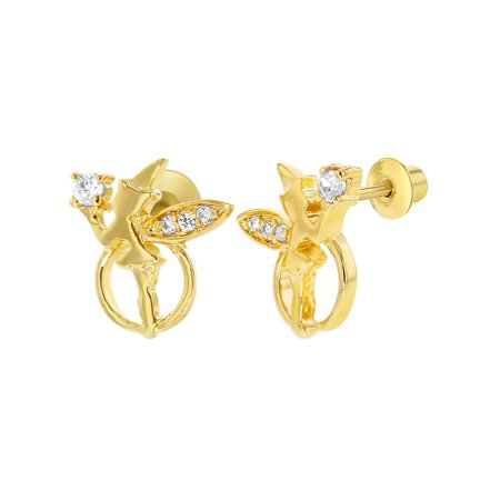 18k Gold Plated Little Fairy Clear Cubic Zirconia Screw Back Kids Girl Earrings - Little Girls Jewelry Boxes