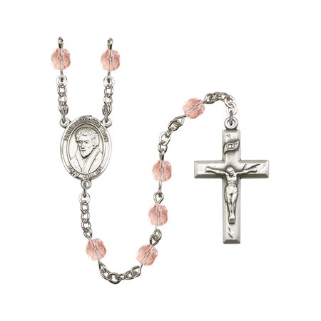 St. Peter Canisius Silver-Plated Rosary 6mm October Pink Fire Polished Beads Crucifix Size 1 3/8 x 3/4 medal charm
