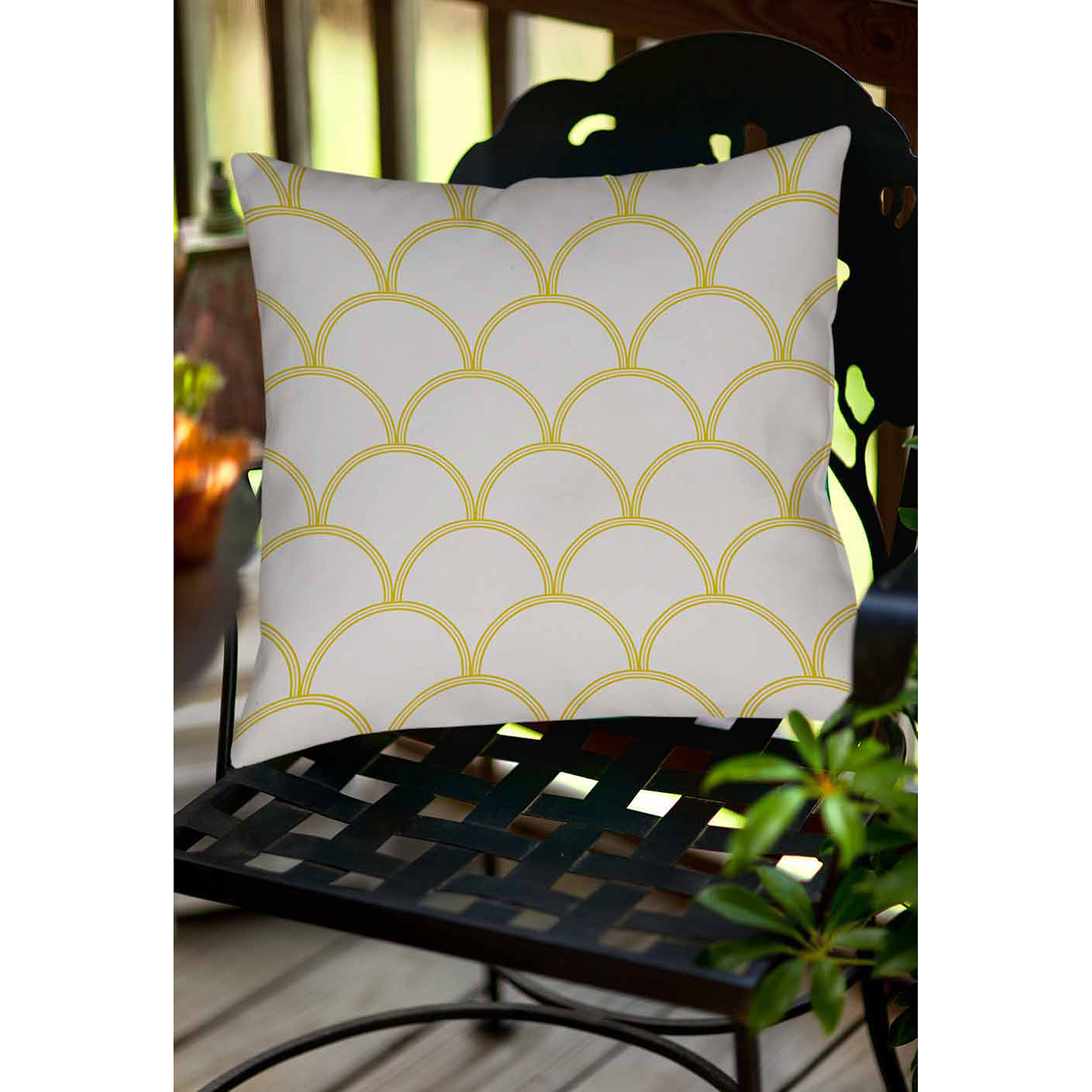 Thumbprintz Art Deco Circles Gray and Yellow Indoor/Outdoor Pillow