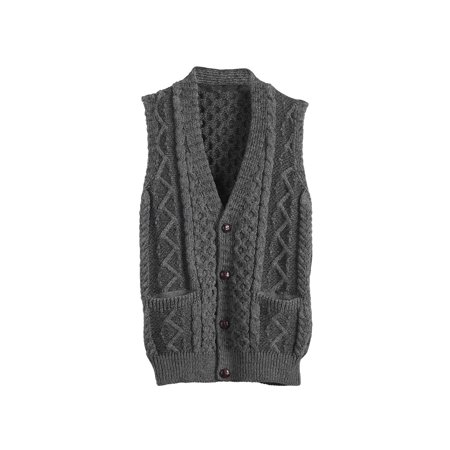 Unisex-Adult Aran Waistcoat - Cable Knit Wool Button Down Sweater Vest