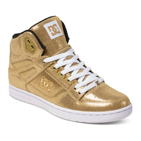 DC Women's Rebound High SE Skateboarding Sneakers Gold Leather 5