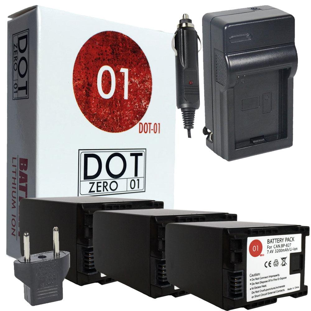 3x DOT-01 Brand 3200 mAh Replacement Canon BP-827 Batteri...