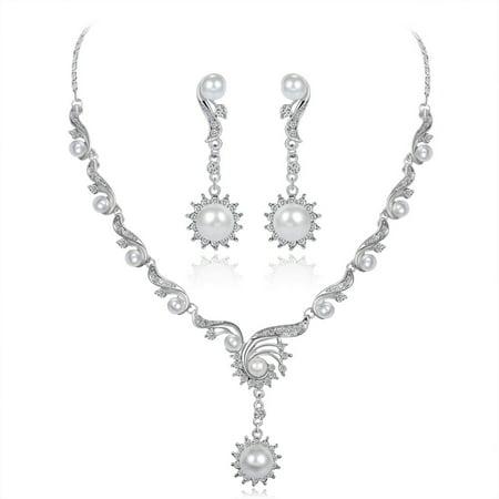 Women Girls Jewelry Set Elegant Pearl Rhinestone Necklace + Earring Eardrop for Banquet Wedding Valentine's Day (Valentine Special Pearl Set)