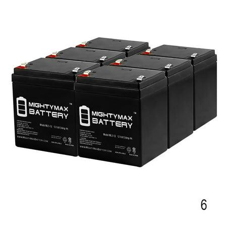 12V 5AH SLA Battery Replaces CB4-12, CA1245, PE12V4, PS-1245 - 6 Pack