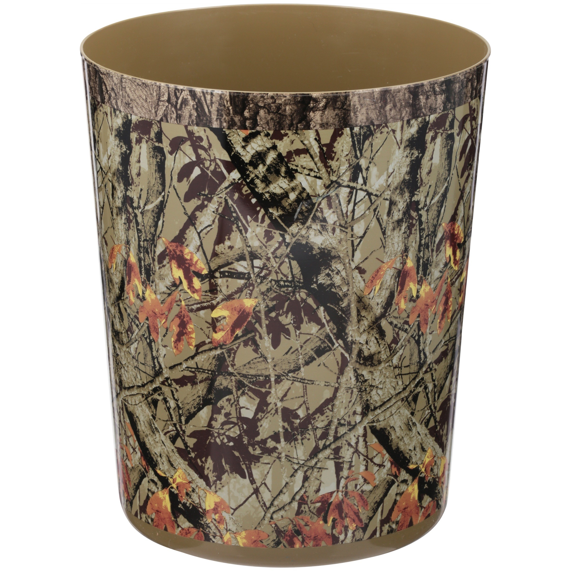 Mainstays Ozark Trail 1.5 Gallon Camo Waste Basket, Green and Brown Camouflage
