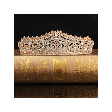 Meigar Rose Gold Crystal Bridal Princess Queen Crown And Tiara Hairband for Wedding Party - Queen Tiara