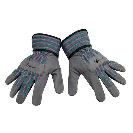 G & F 5009L JustForKids Synthetic Leather Kids Garden Gloves, Kids Work Gloves, Grey, 7-9 years old, 100% synthetic leather By G F From USA - Old Globes